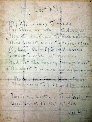 Joe Hill: My Last Will