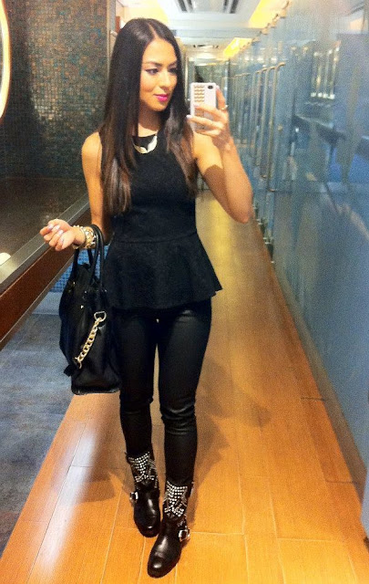 daniela pires, all black streetstyle, leather pants, biker boots, peplum top, fashion blogger, trend, zara, michael kors bag