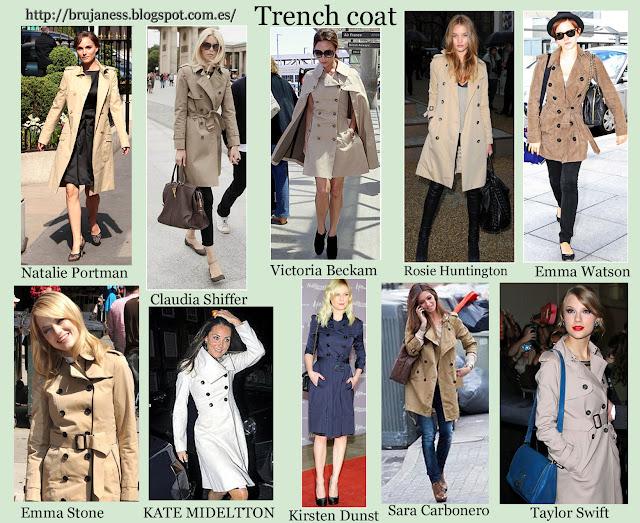 Trench coat o gabardinas vistas en distintas famosas este otoño 2012