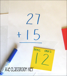 addition with regrouping using sticky notes
