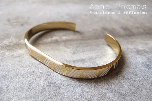 Bijoux Anne Thomas bracelet Emma doré blanc laque