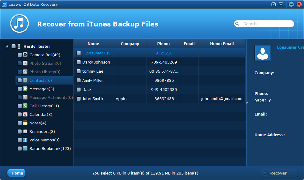 Preview & extract contacts from iPhone backup