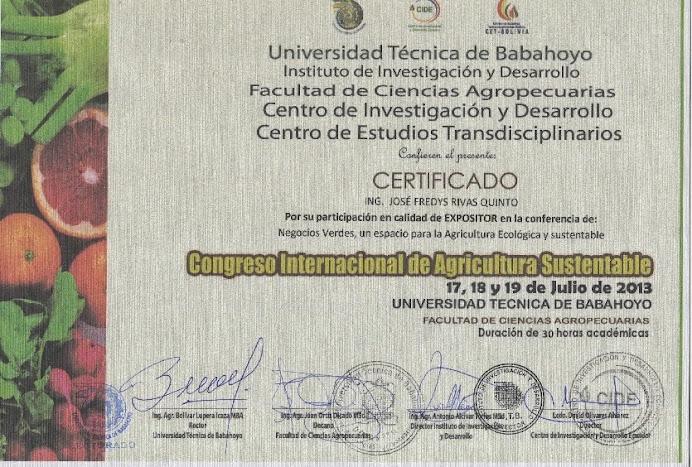 Certificado Expositor Negocios Verdes