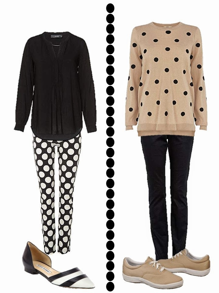 dotted pants with black blouse and dotted beige sweater with black jeans