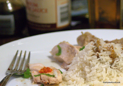 thehomefoodcook - hainanese chicken rice - eaten with black sauce