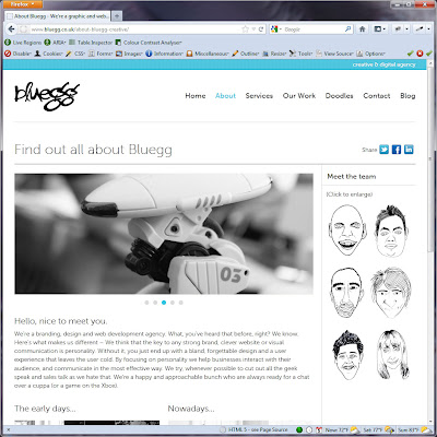 Screen shot of http://www.bluegg.co.uk/about-bluegg-creative/.