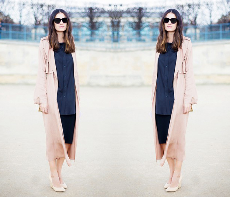 Leila Yavari, Paris street style, long pink coat, pastels, fashion week