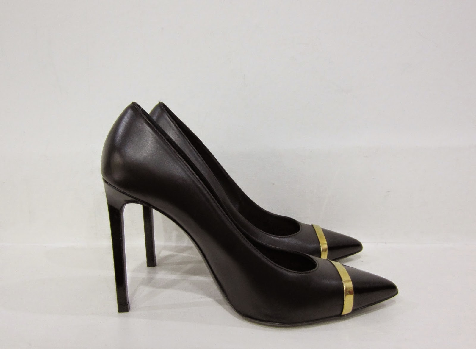 Saint Laurent Black High Heeled Shoes with Gold Trim