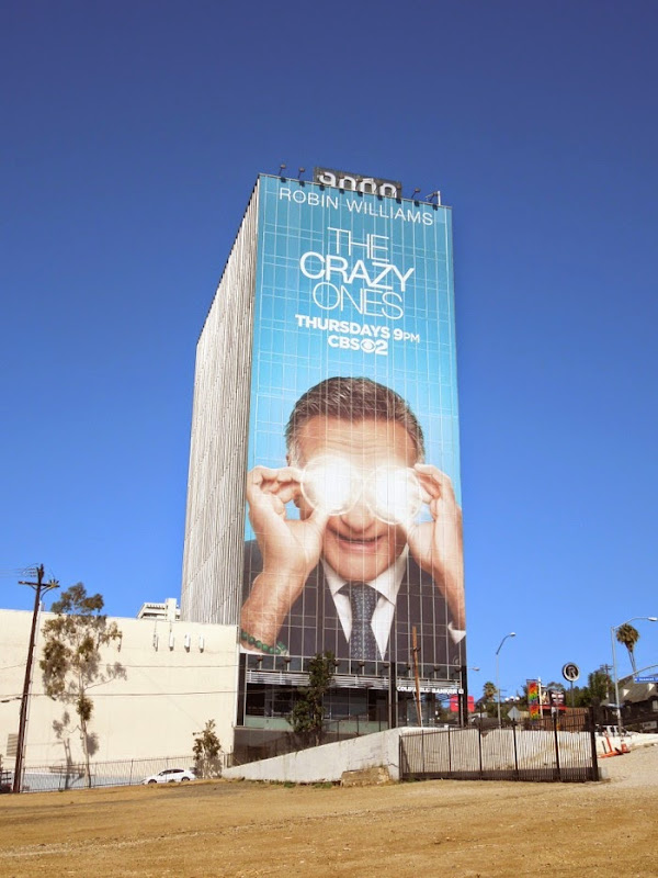 Giant Robin Williams The Crazy Ones billboard Sunset Strip