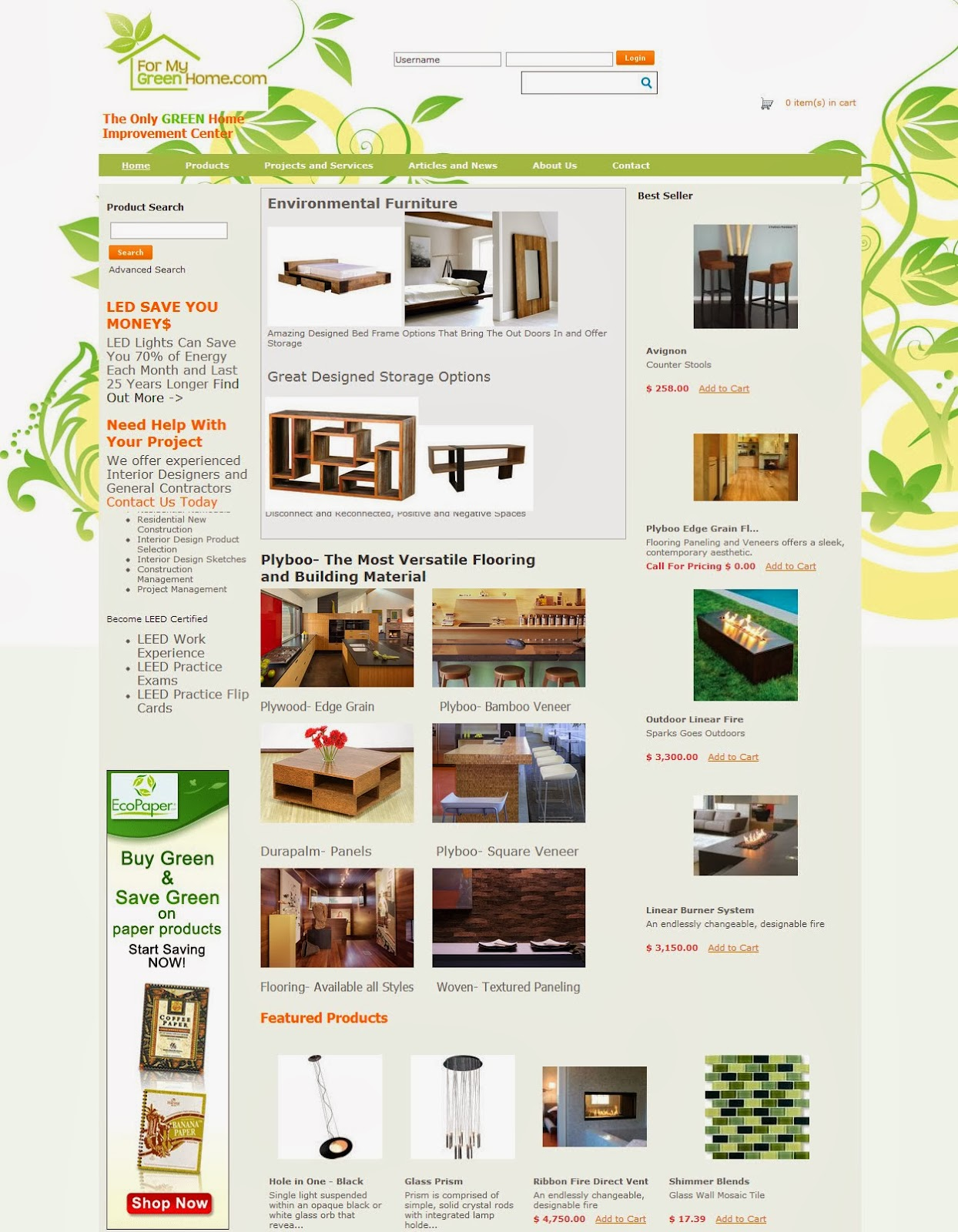 Eco Home Store- Website Design   aahHA Designs