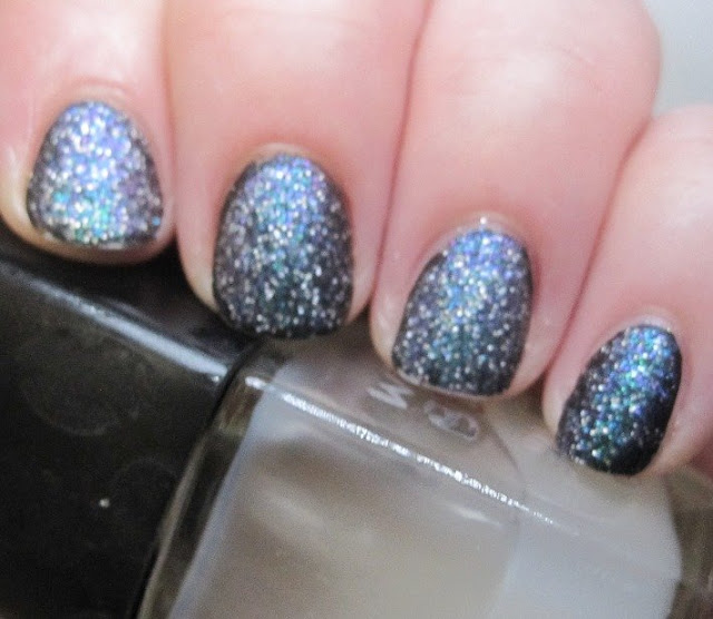 Ninja Polish Nebula over Cult Nails Nevermore with matte topcoat