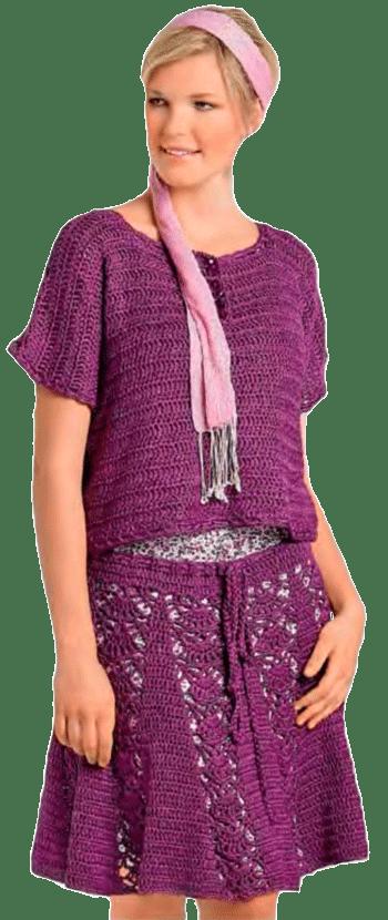 Нарядный фиолетовый топ с ажурной юбкой, связанные крючком