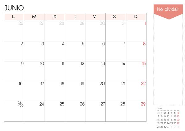 calendario de junio  2014 para imprimir