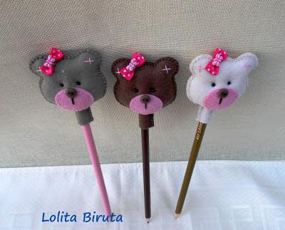 ponteiras de lápis com ursinhas em feltro