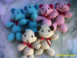 Amigurumi Teddy Bear, gantungan kunci teddy bear, gantungan kunci rajut, gantungan hp rajut