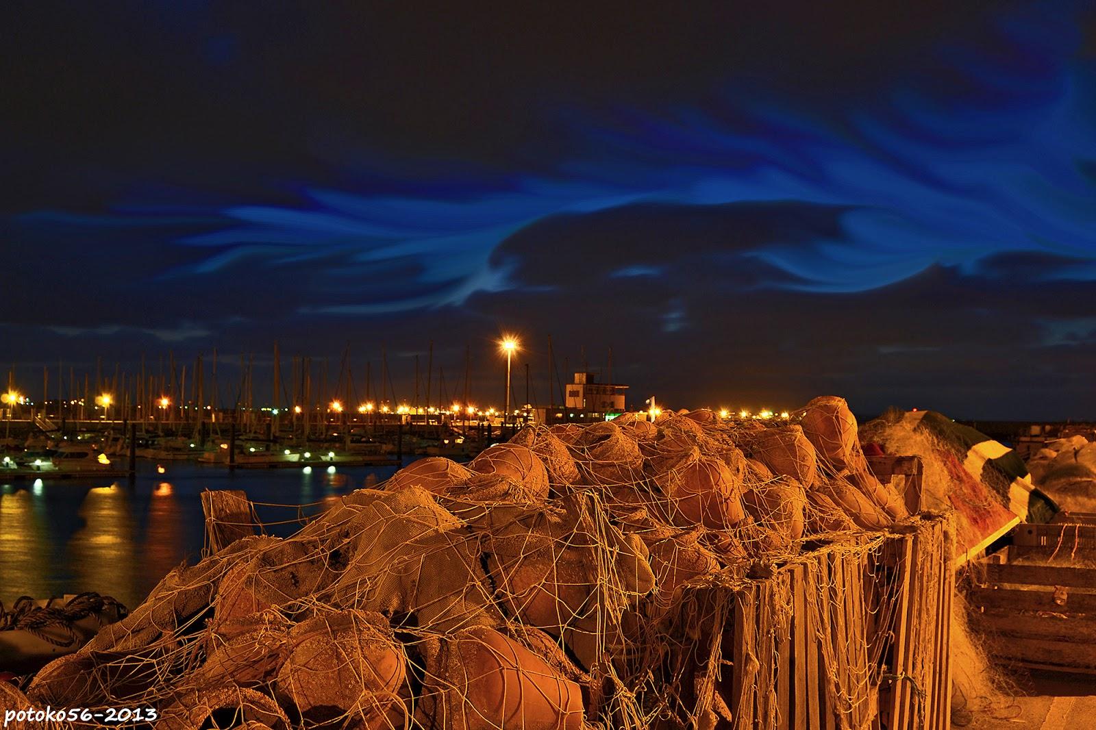 Muelle de Rota amanecer con Aurora Boreal