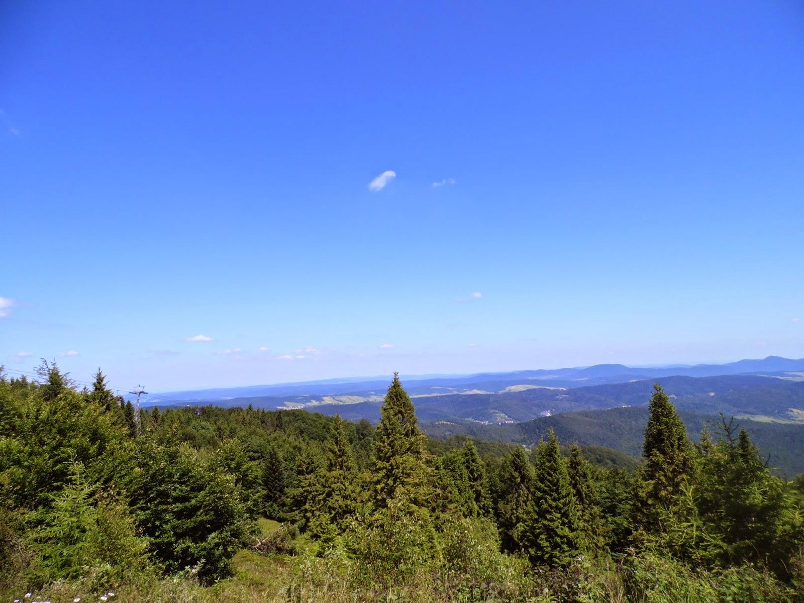 Widok z Jaworzyny Krynickiej na kolejkę gondolową