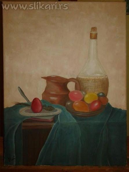 umetnička slika VASKRS-30 x 20cm ulje na platnu-slikar vladisav bogićević