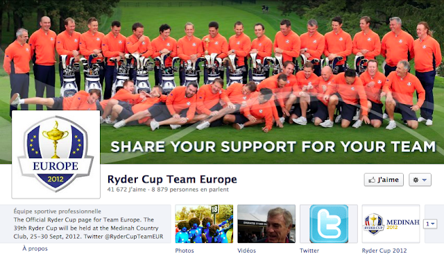 Ryder Cup 2012 Team Europe sur Facebook
