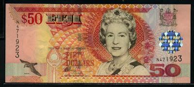 Fiji 50 Fijian dollars banknote Queen Elizabeth