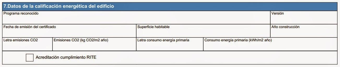Registro certificado energético Aragón - Apartado 7 Anexo II