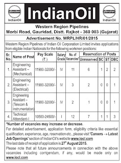 Indian Oil Corporation Limited (IOCL) Recruitment 2015 Application Form for 28 Engineering Assistant, Technical Attendant Posts