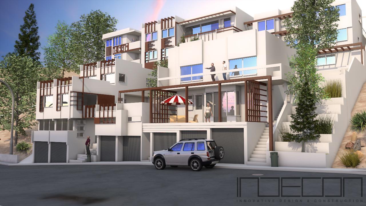 Indecon rendering eines kleinen wohnviertels im sonnigen for Cinema 4d innenarchitektur