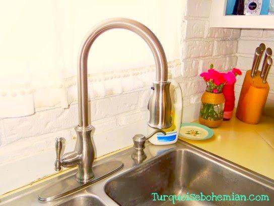 Closeup of new faucet