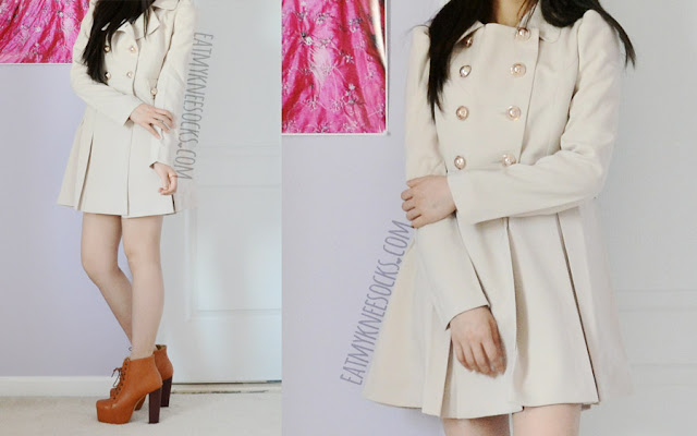 A cute autumn outfit, with the sweet ulzzang-style beige trench coat from SheIn, worn with edgy high-heel platform booties.