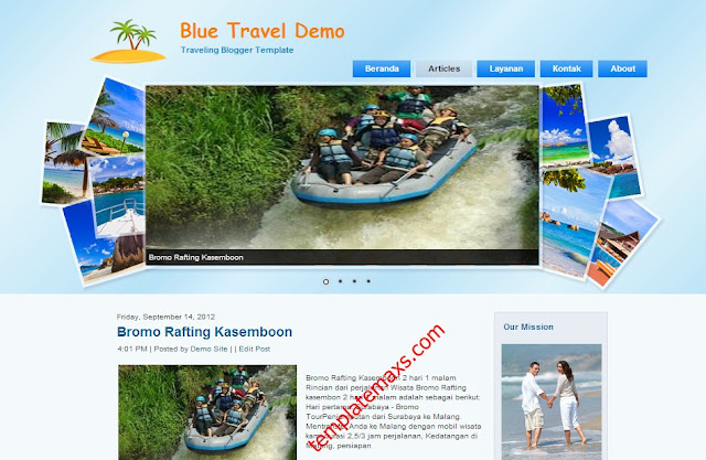 Blue Travel Blogger Template