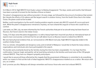 SERPIHAN PESAWAT DIPULAU REUNION SAH MILIK MH370