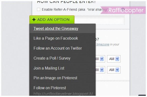 istruzioni rafflecopter giveaway