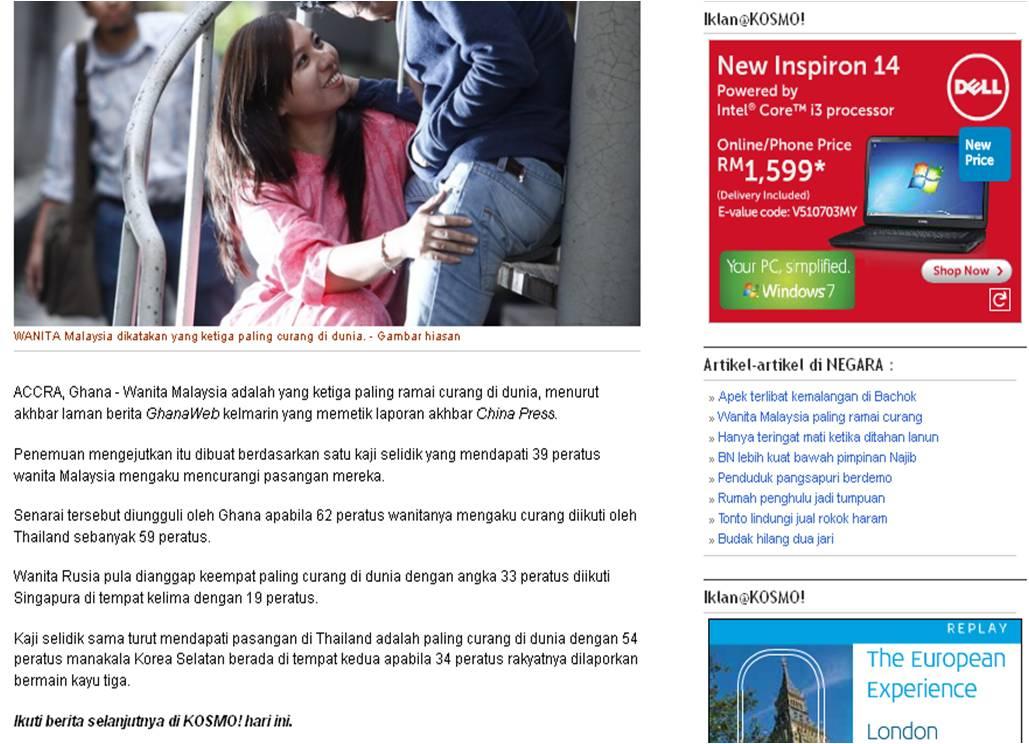 wanita malaysia ketiga paling ramai curang salamuhafie