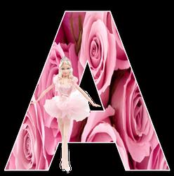 Alfabeto de Barbie Balletista en fondo de rosas.