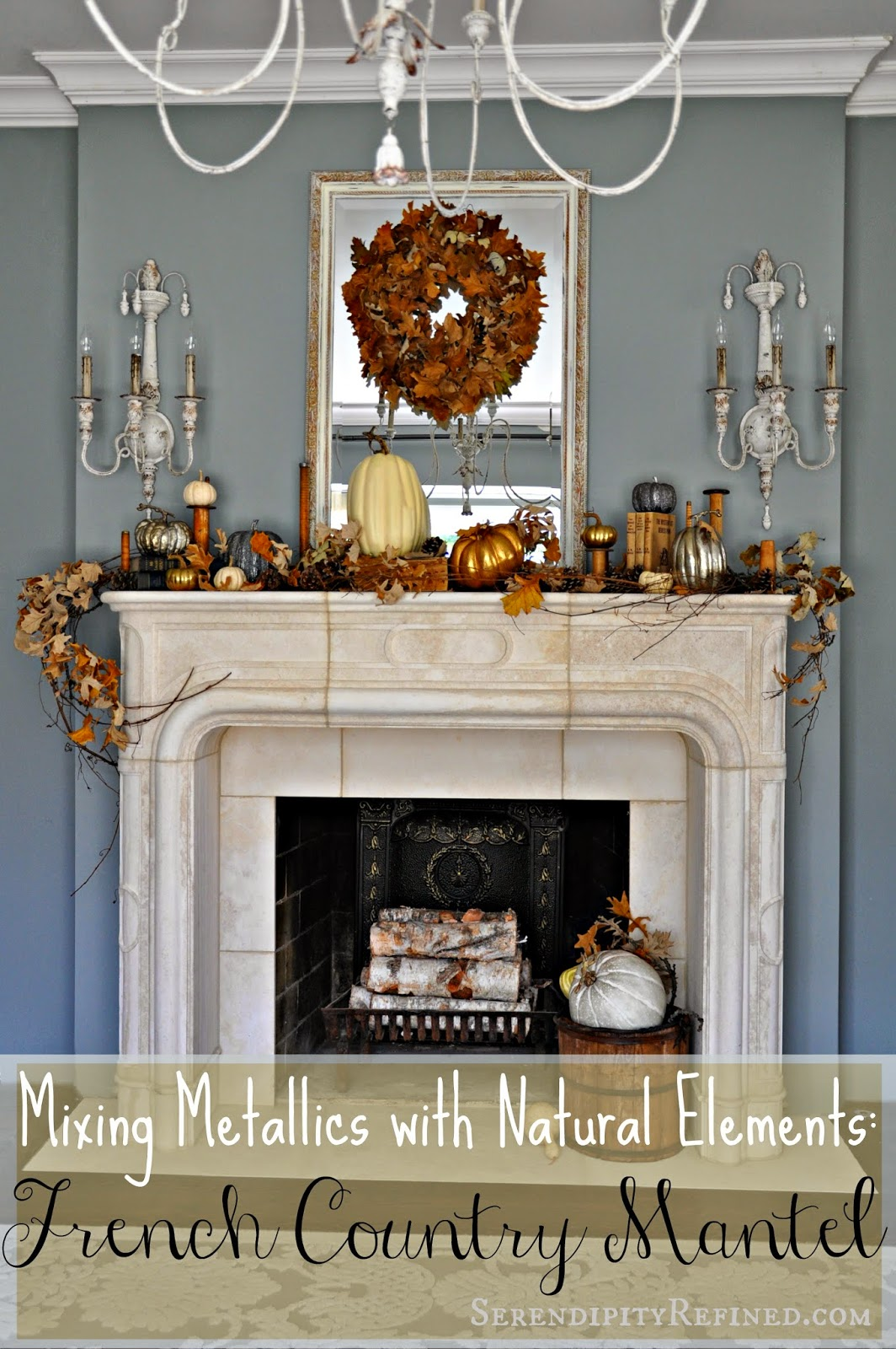 French Country Fall Mantel: Neutrals, Naturals And Metallics