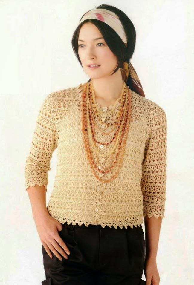 Blusa a Crochet con mangas largas