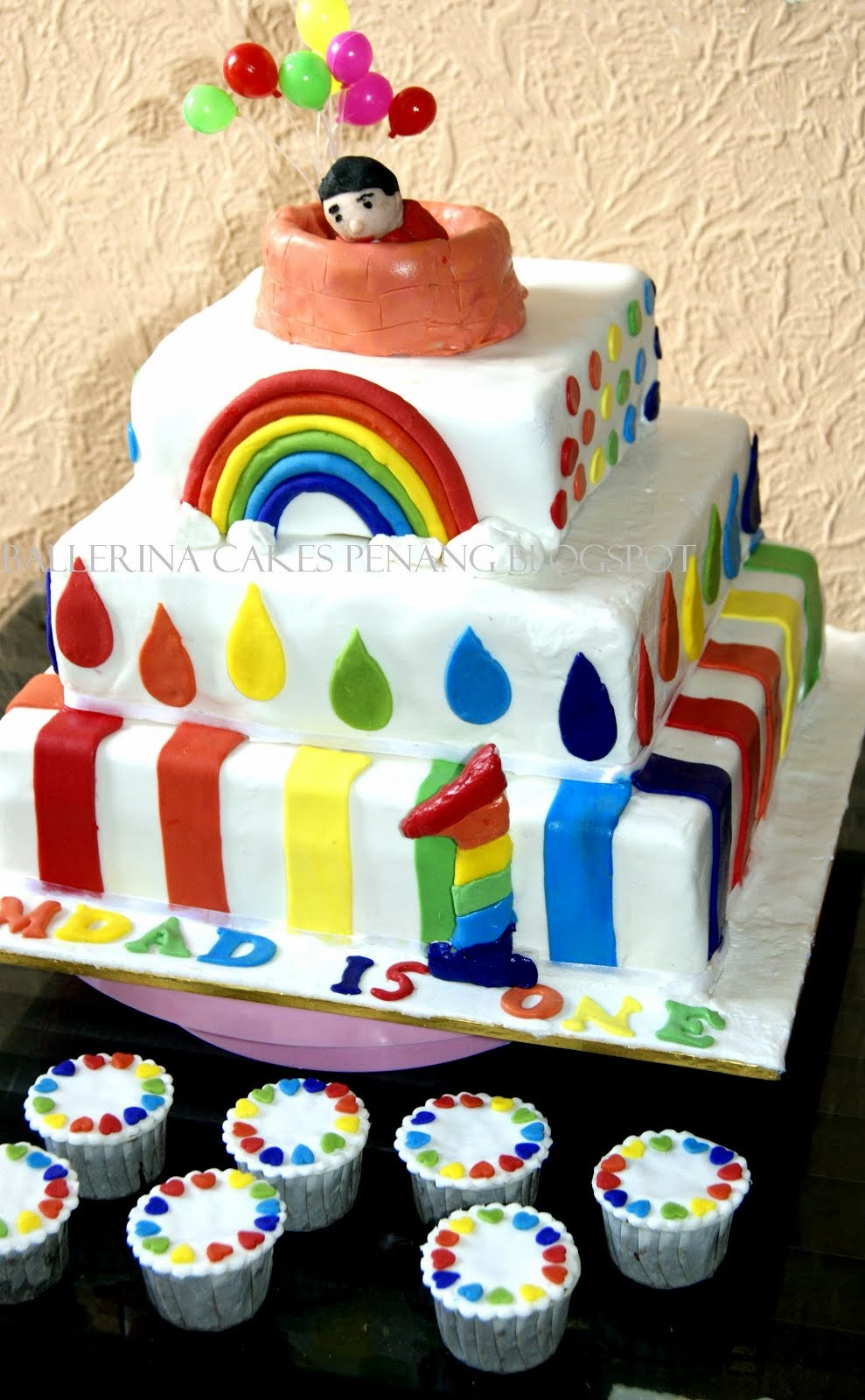 Three tier Rainbow Theme Birthday cake