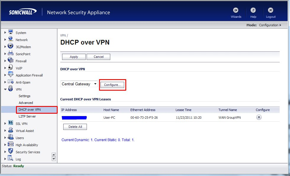 Basic Configuration of SSL VPN with SonicWALL