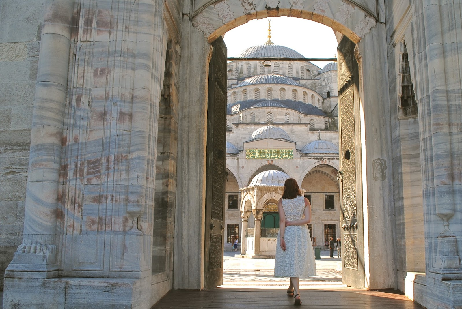 Visit the Blue Mosque in Istanbul wearing ASOS Daisy midi dress
