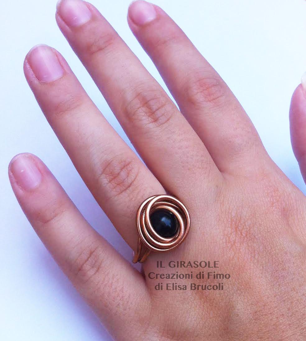 Preferenza Anello in filo di alluminio ramato con perla nera - Il GiraSole ❂ XH32