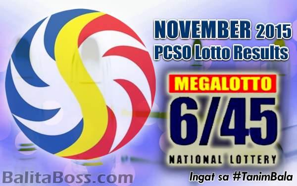Image: November 2015 MegaLotto 6/45 PCSO Lotto Results