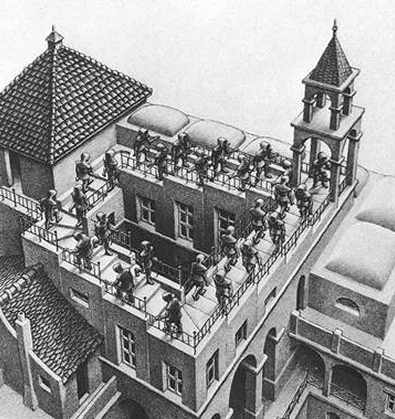 Escher etching of starcase that seems to lead up or down but simply goes back to the same point.