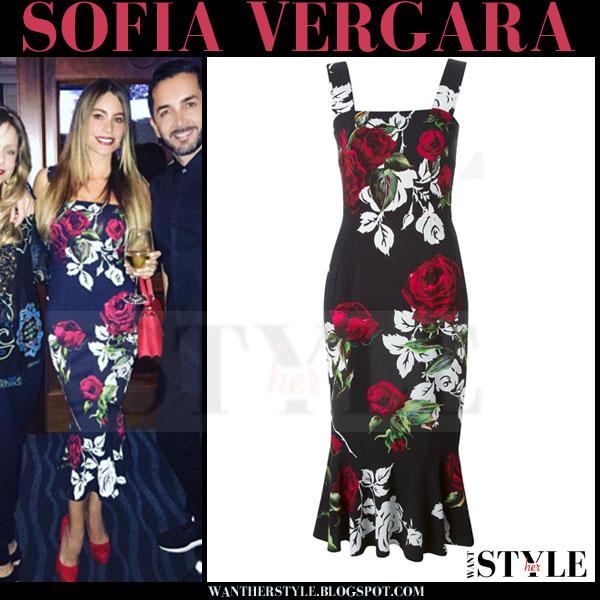 Sofia Vergara in black rose floral print midi dress dolce gabbana what she wore
