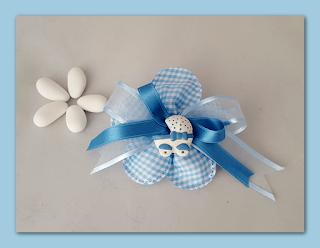 bomboniere gesso battesimo fiore carrozzina azzurro