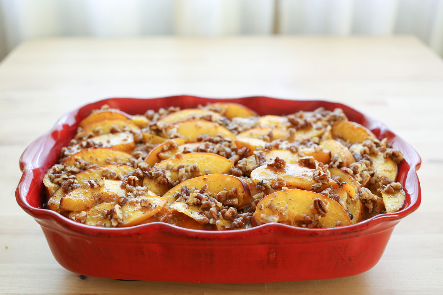 Peaches and Cream French Toast Casserole with Praline Topping recipe ...