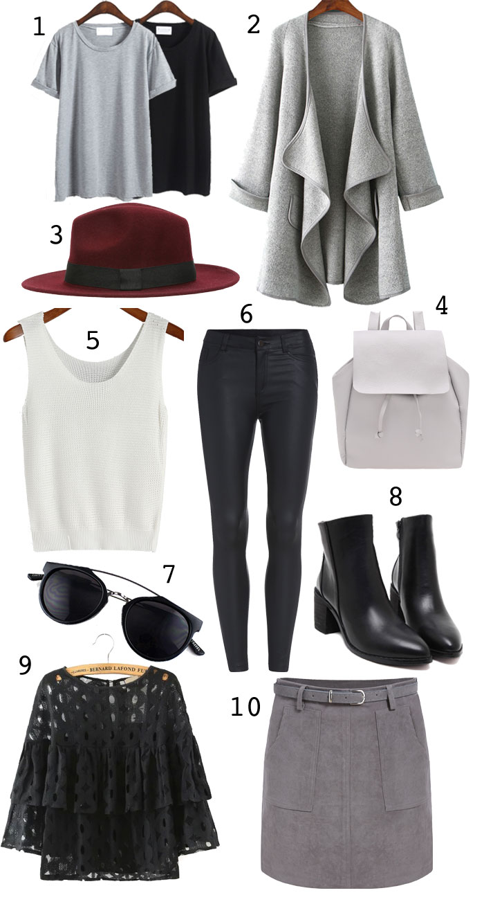 fall fashion basics for women, gray coat for women, gray backpack, basic tees, maroon hat, black leather leggings, she in, shein, shinside, shein.com, black boots for fall, wardrobe basics for women, classic wardrobe, fall outfit ideas