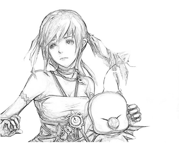 Printable Final Fantasy XIII Serah Farron Weapon Coloring Pages
