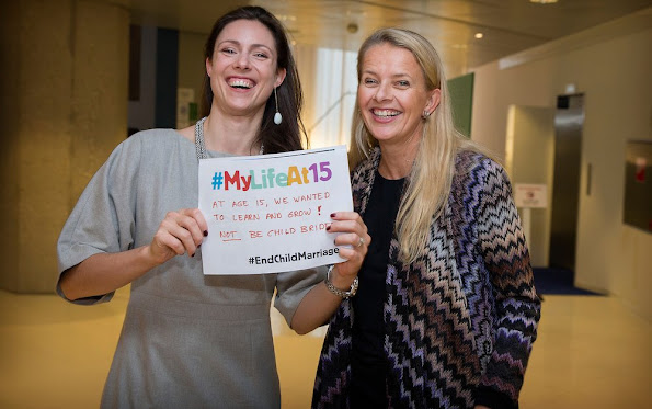 "Princess Mabel of The Netherlands and Princess Victoria of Bourbon attended the expert meeting on child marriage, organized by ""Save the Children"" at the Ministry of Foreign Affairs"