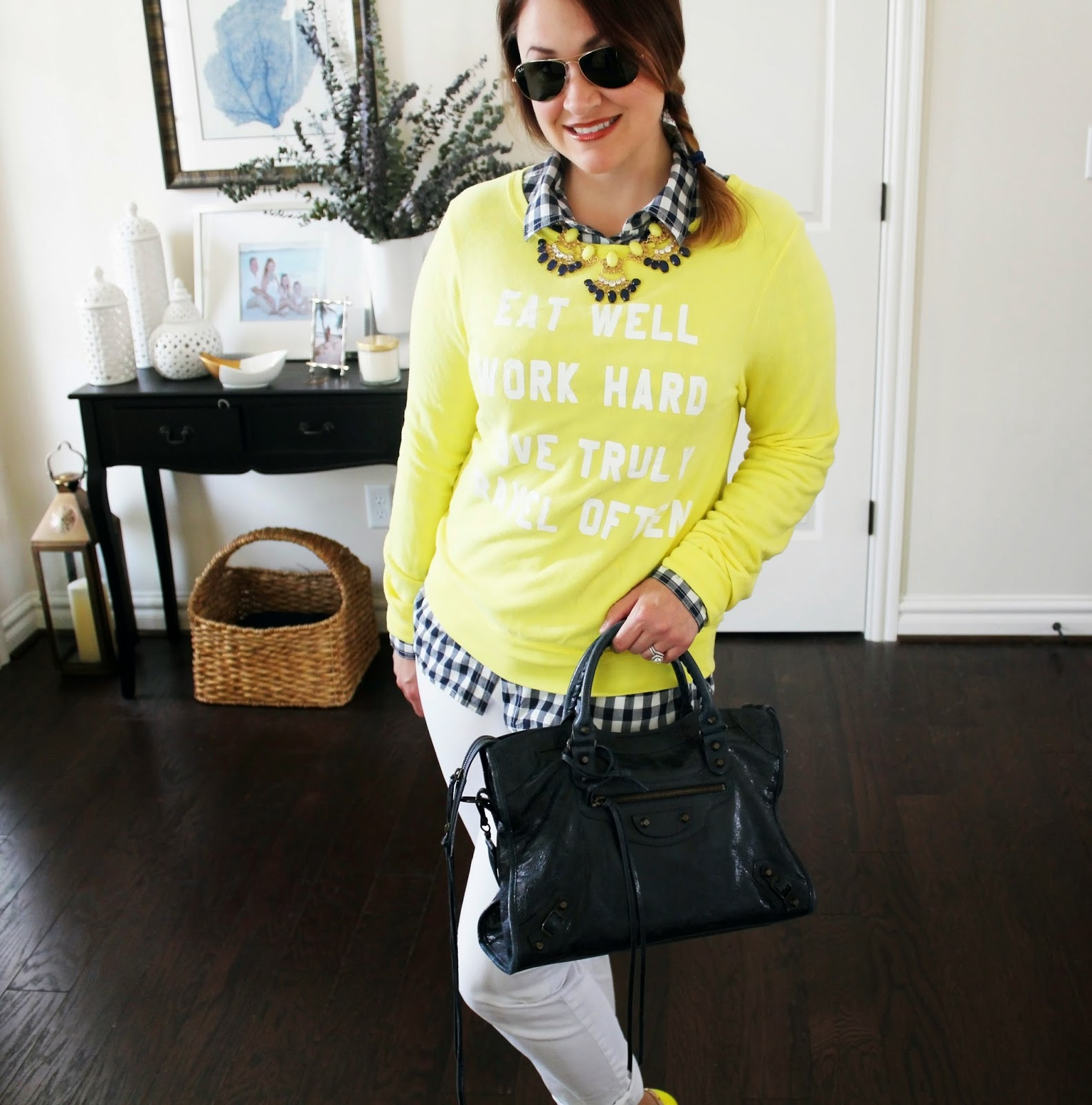 WildFox Eat Well, Work Hard, Love, White Loft Jeans, Navy Balenciaga Bag, Valentino Rocketed Flats