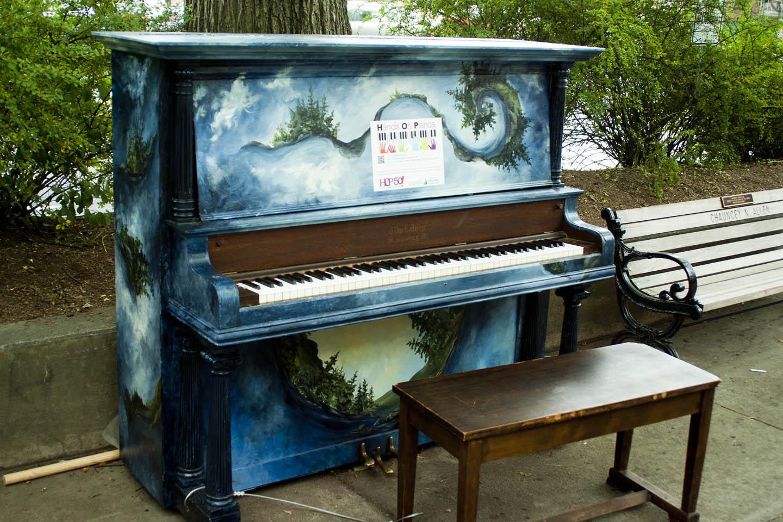 painted piano mountain scene